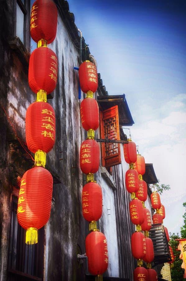 Ciudad china roja China de Tongli de las linternas foto de archivo