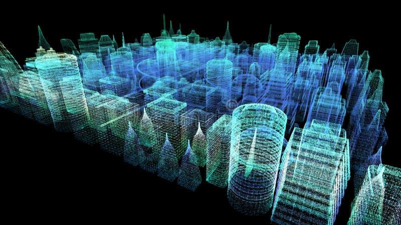 Ciudad cibernética olográfica futurista fotografía de archivo