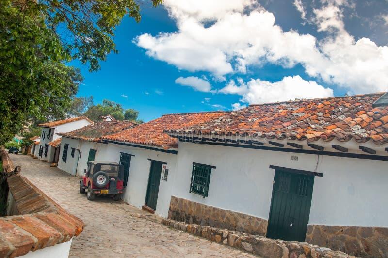 Ciudad colonial de Villa de Leyva en Colombia imagenes de archivo