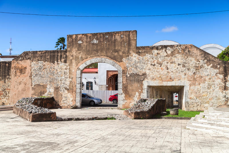 Ciudad Colonial, Santo Domingo. Dominican Republic, street view withold stone gateway stock image
