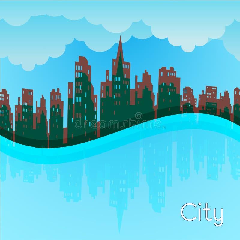 Ciudad coloreada de la silueta ilustración del vector