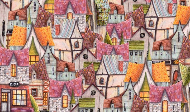 Ciudad coloreada del modelo de los lápices con el café, casas, invernadero libre illustration