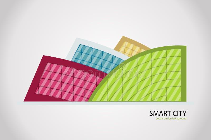 Ciudad colorida del extracto del vector, muestra constructiva de la composición, icono, logotipo aislado libre illustration