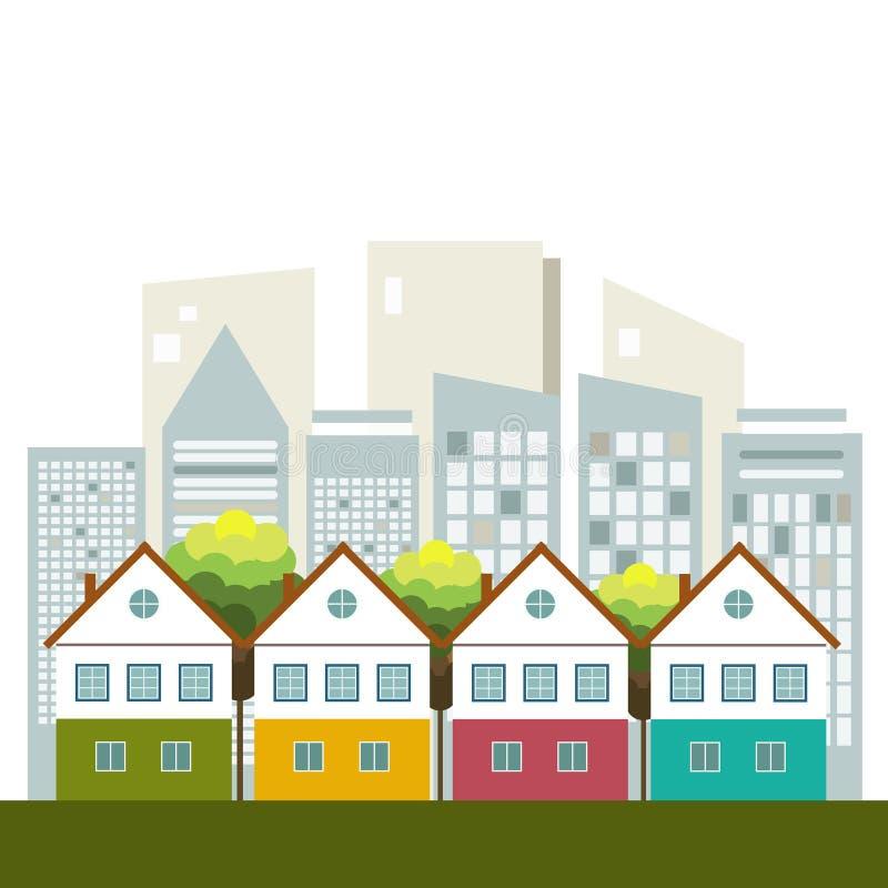 Ciudad colorida, Real Estate, concepto vivo sano ilustración del vector