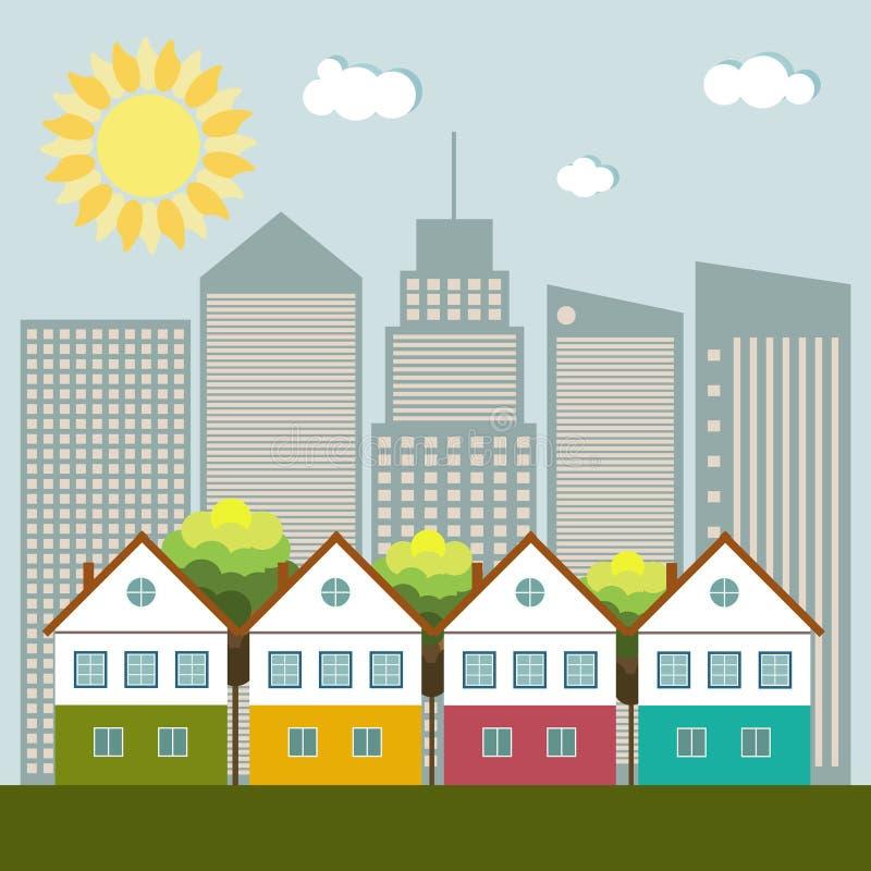Ciudad colorida, Real Estate, concepto vivo sano stock de ilustración