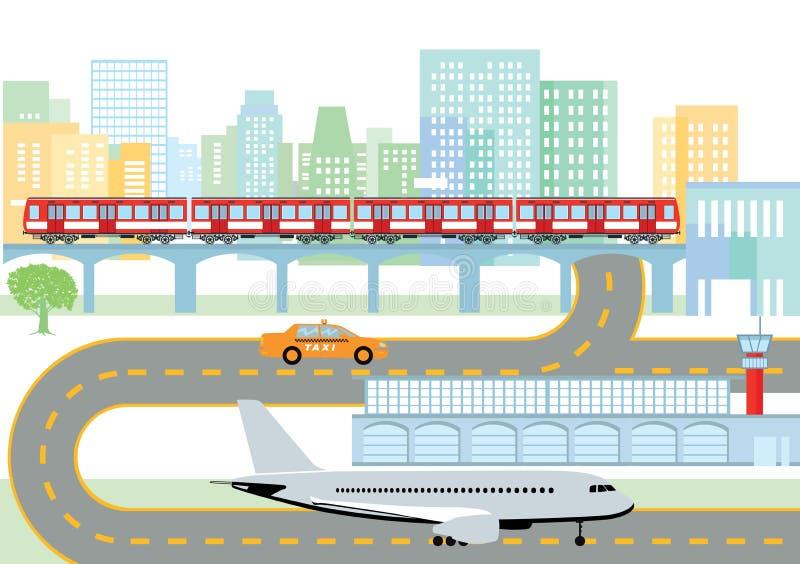 Ciudad con el aeropuerto y el metro ilustración del vector