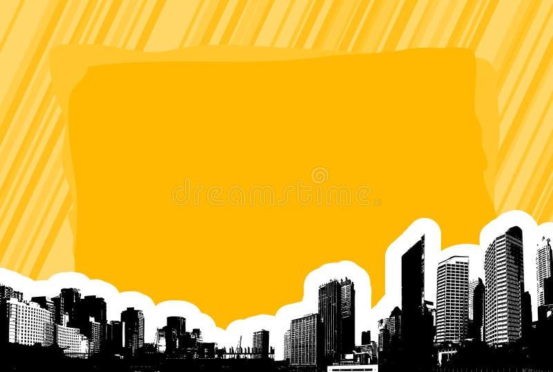 Ciudad con el lugar para el texto. stock de ilustración