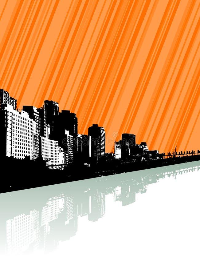 Ciudad con la reflexión y las líneas. ilustración del vector