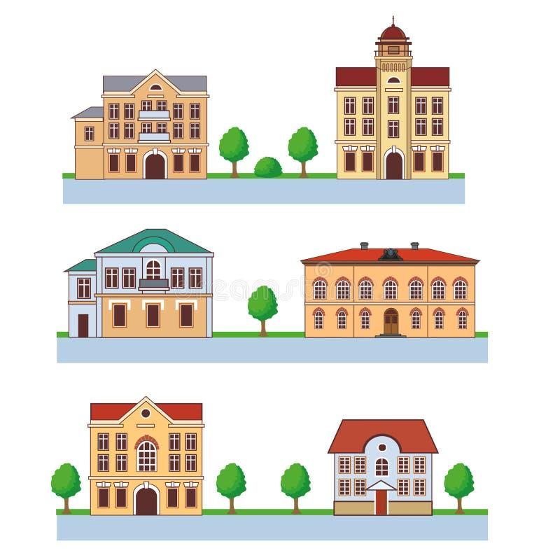 Ciudad con las casas coloridas Modelo inconsútil Ejemplo de la historieta del vector en un fondo verde Ciudad y país libre illustration