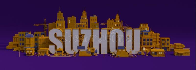ciudad con los edificios, nombre de la representación 3d de letras de Tokio ilustración del vector