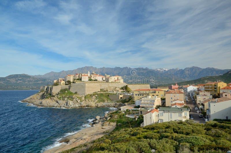 Ciudad costera corsa Calvi fotos de archivo libres de regalías
