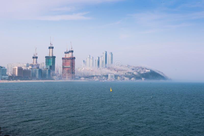 Ciudad costera surcoreana del paisaje de Busán fotos de archivo