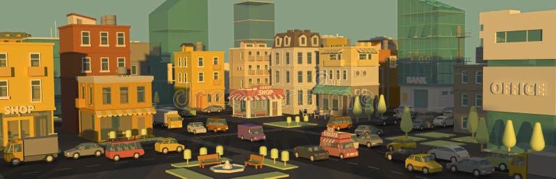 Ciudad 3d del panorama de la calle de la historieta de la bandera Luz del día de la publicidad al aire libre Detalle muy alto Edi fotos de archivo libres de regalías