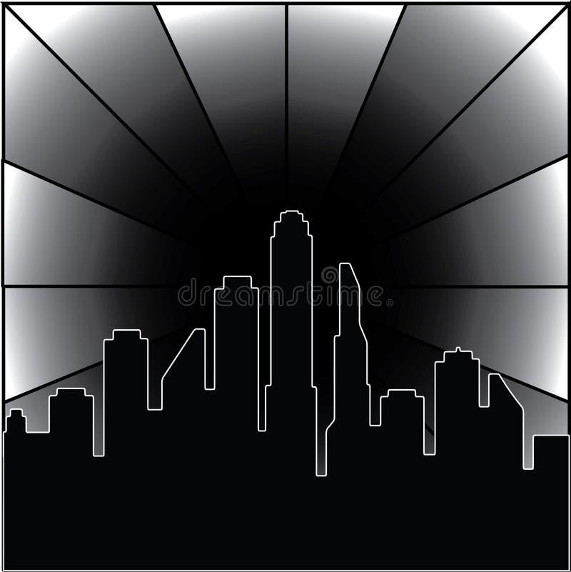 ciudad 3D en la noche ilustración del vector