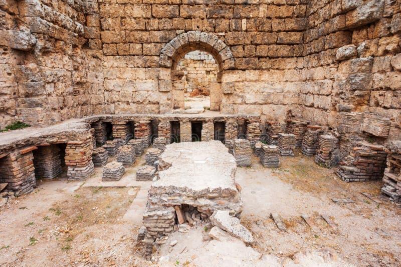 Ciudad de Anatolia antigua de Perge, Antalya foto de archivo