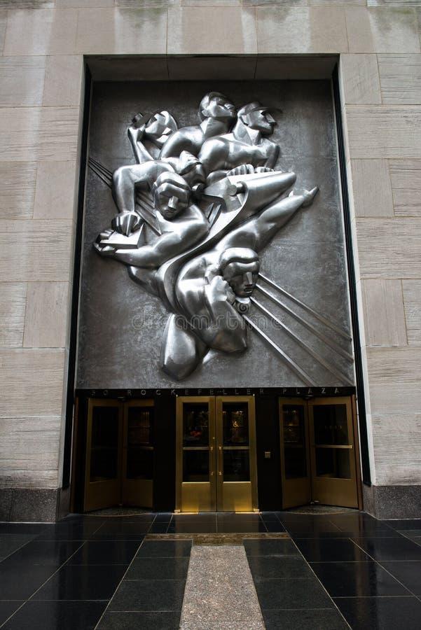 Ciudad de Art Deco Rockefeller Center New York foto de archivo