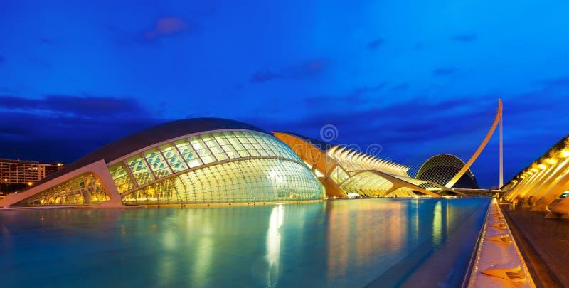 Ciudad de artes y de ciencias por la tarde. Valecia, España imagen de archivo