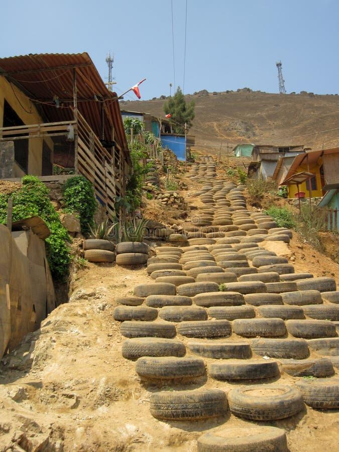 Ciudad de chabola en Lima fotos de archivo libres de regalías