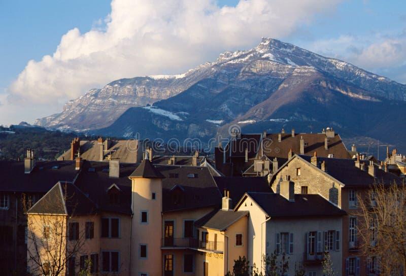 Ciudad de Chambery en la col rizada, Francia fotografía de archivo libre de regalías