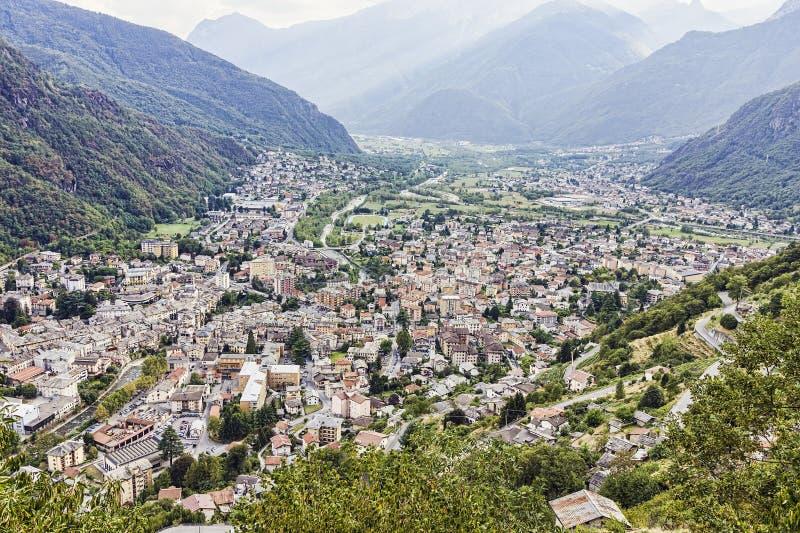 Ciudad de Chiavenna fotos de archivo