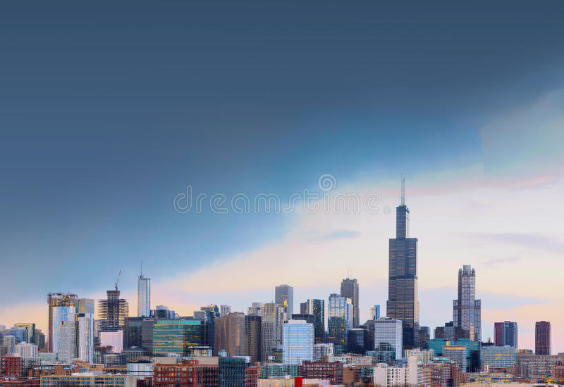 Ciudad de Chicago con el espacio libre, Illinois foto de archivo libre de regalías