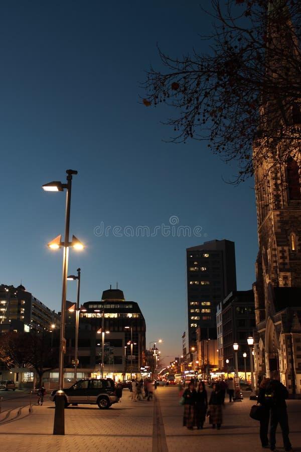 Ciudad de Christchurch en la noche fotografía de archivo libre de regalías