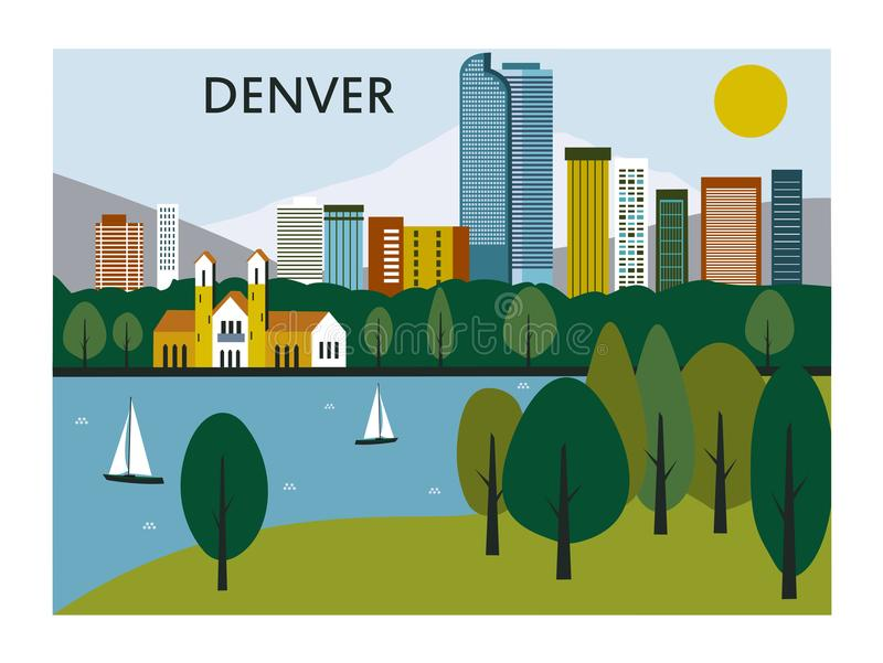 Ciudad de Denver en Colorado stock de ilustración