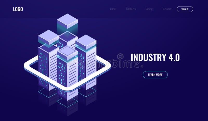 Ciudad de Digitaces, ciudad urbana isométrica, rascacielos, nube que computa, almacenamiento de datos de la nube, estante del sit ilustración del vector