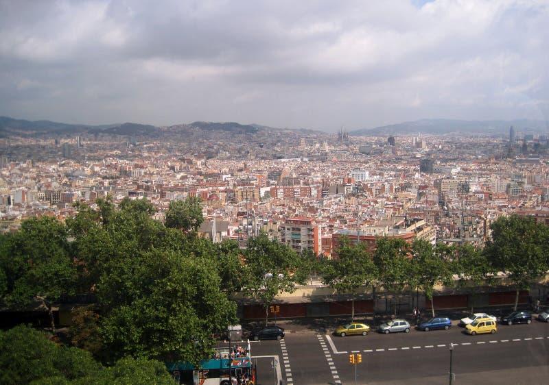 Ciudad de España Paisaje urbano Fondo precioso Ciudad de una opinión del ojo del ` s del pájaro foto de archivo libre de regalías
