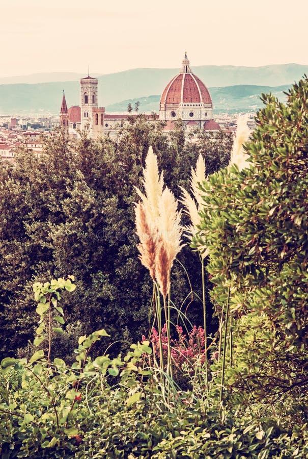 Ciudad de Florencia con la catedral Santa Maria del Fiore y el campanil fotografía de archivo libre de regalías