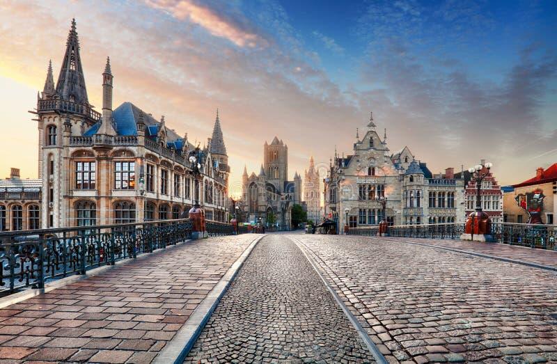 Ciudad de Gante, Bélgica foto de archivo