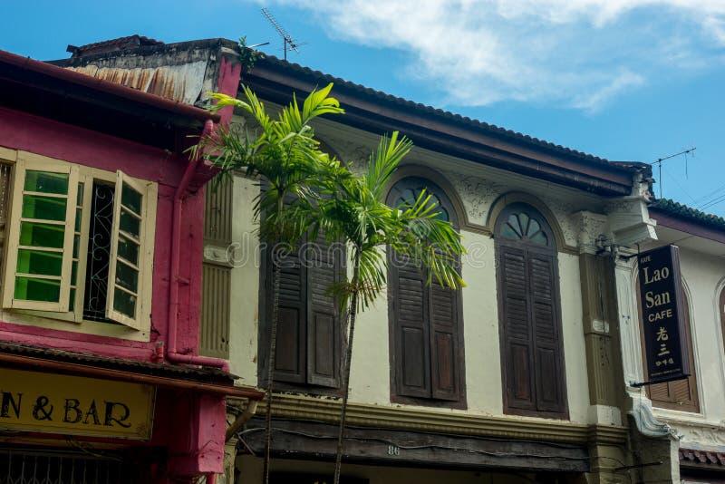 Ciudad de George/Malaysia-20 11 2017: La vista delantera de la tienda china en Melaka imagen de archivo libre de regalías