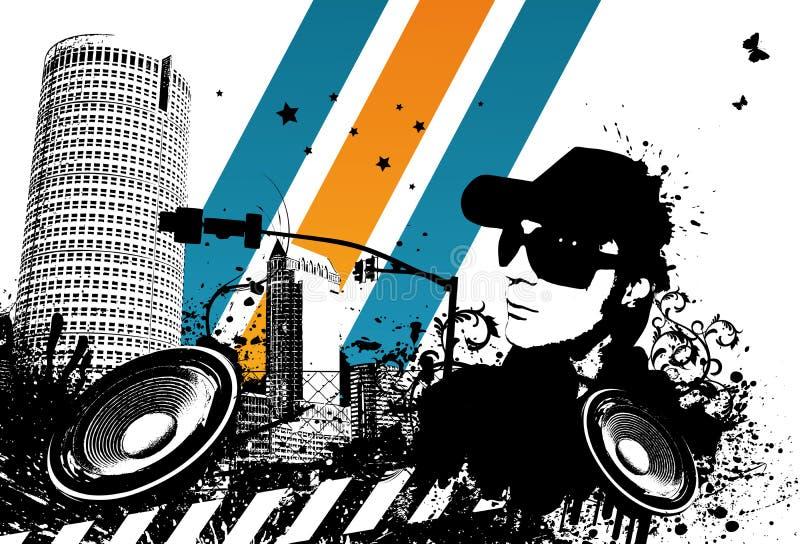 Ciudad de Grunge DJ ilustración del vector