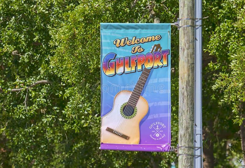 Ciudad de Gulfport, signo positivo de la calle de la Florida imágenes de archivo libres de regalías