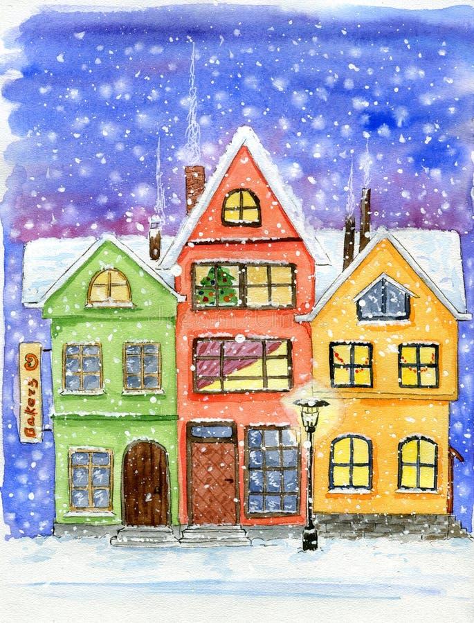 Ciudad de hadas linda de la acuarela pequeña con las casas de la historieta en nevadas del invierno imagen de archivo