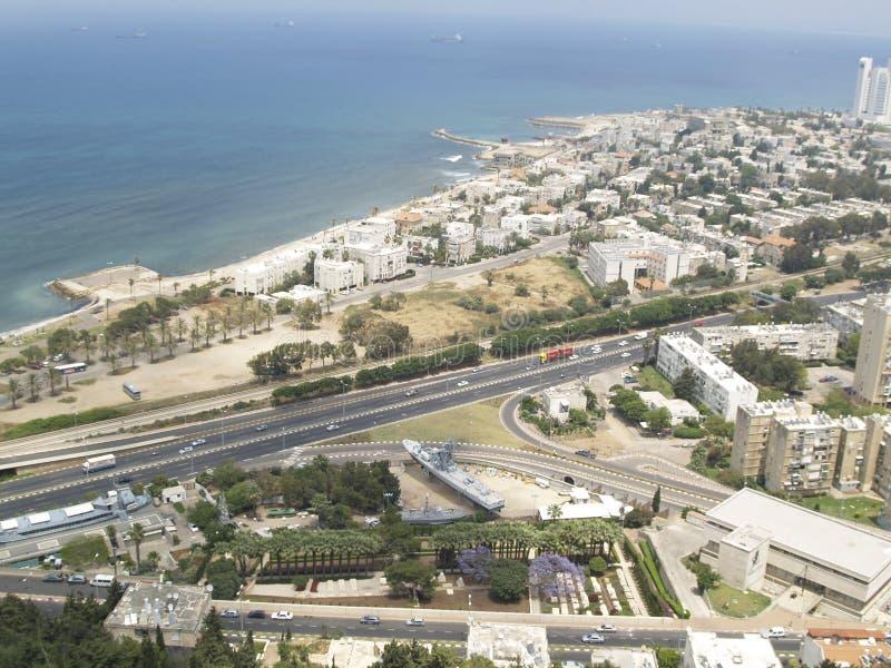Ciudad de Hayfa - visión aérea imagen de archivo