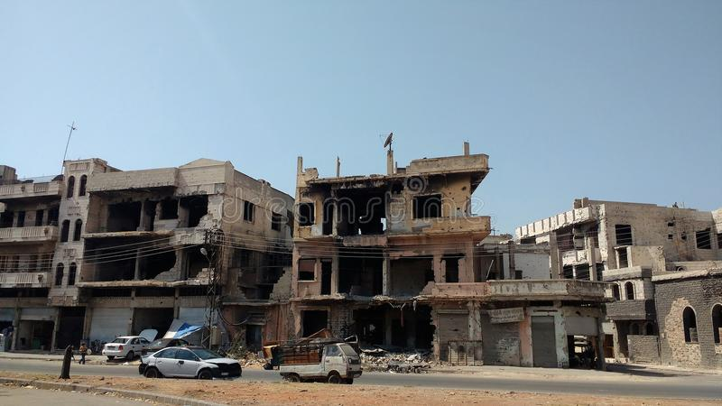 Ciudad de homs después de la guerra imagen de archivo