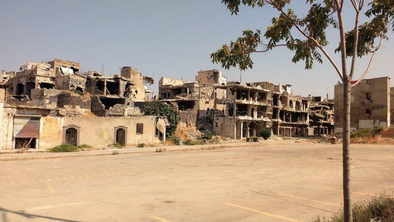Ciudad de homs después de la guerra fotos de archivo libres de regalías
