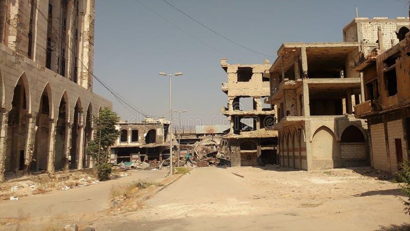Ciudad de homs después de la guerra fotografía de archivo libre de regalías