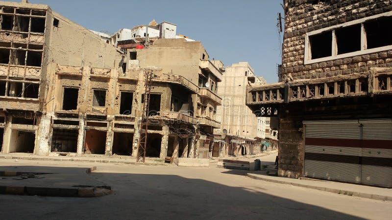 Ciudad de homs después de la guerra foto de archivo libre de regalías