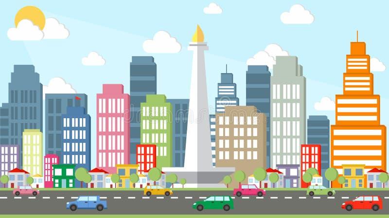 Ciudad de Jakarta - vector de la historieta de Monas fotografía de archivo libre de regalías