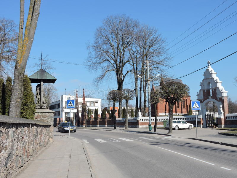 Ciudad de Kretinga, Lituania fotografía de archivo