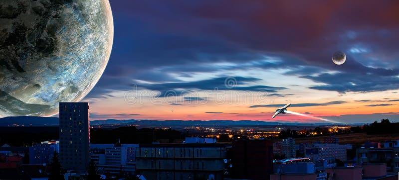 Ciudad de la ciencia ficción con dos planeta y naves espaciales, manipulación de la foto stock de ilustración