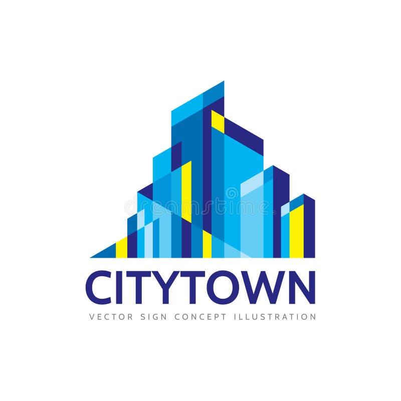 Ciudad de la ciudad - ejemplo del concepto de la plantilla del logotipo de las propiedades inmobiliarias ilustración del vector