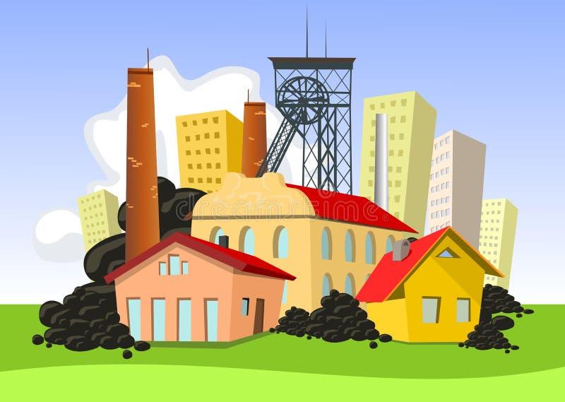 Ciudad de la explotación minera libre illustration