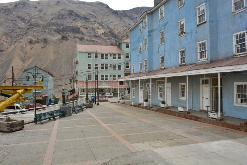 Ciudad de la explotación minera del fantasma de Sewell, Chile foto de archivo libre de regalías