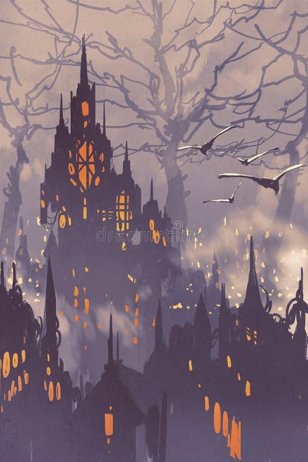 Ciudad de la fantasía, ciudad de hadas con los árboles grandes ilustración del vector