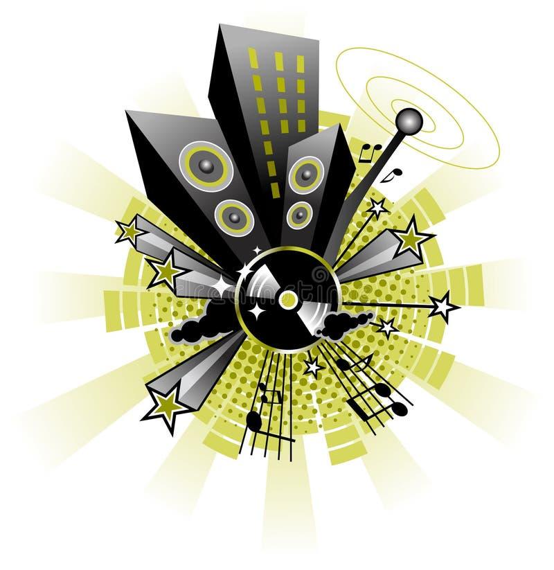 Ciudad de la música stock de ilustración