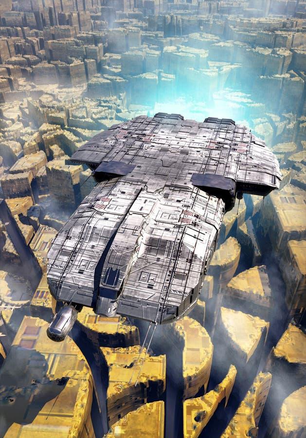 Ciudad de la nave espacial y del extranjero libre illustration