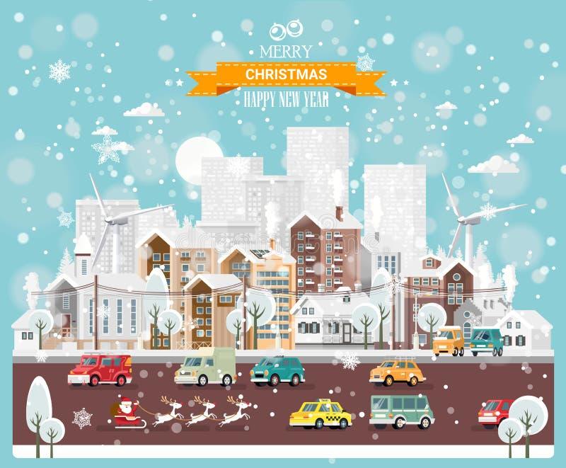 Ciudad de la nieve de la Navidad con los caminos de ciudad, los coches y las casas lindas Plantilla del vector de la Feliz Año Nu libre illustration